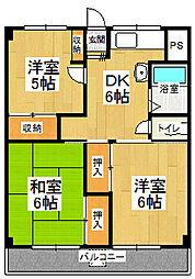 北ノ浜マンション[605号室]の間取り