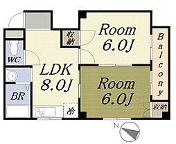 大幸ビル 3階2LDKの間取り