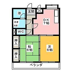 ハイツ鴨田川[3階]の間取り