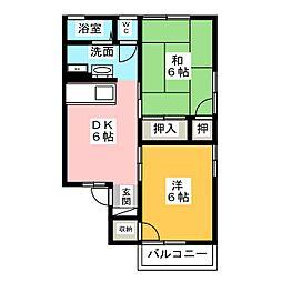 セジュール エム A棟 B棟[2階]の間取り