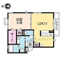 JR東海道・山陽本線 山科駅 徒歩8分の賃貸アパート 3階1LDKの間取り