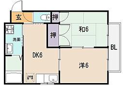 大阪府八尾市東本町2丁目の賃貸アパートの間取り