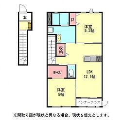 愛知県一宮市篭屋2丁目の賃貸アパートの間取り