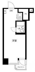東京メトロ銀座線 銀座駅 徒歩8分の賃貸マンション 2階ワンルームの間取り