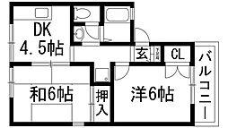 兵庫県西宮市甲東園3丁目の賃貸アパートの間取り