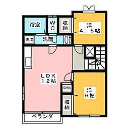 愛知県名古屋市西区大野木1丁目の賃貸アパートの間取り