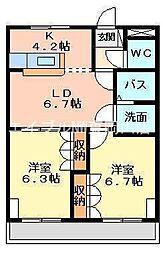 岡山県岡山市東区西大寺松崎丁目なしの賃貸マンションの間取り