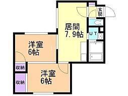 ビッグバーンズマンション白石II 2階2LDKの間取り