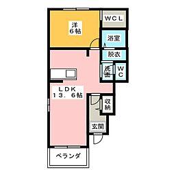 フルールB[1階]の間取り