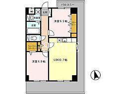 南海高野線 萩原天神駅 徒歩1分の賃貸アパート 5階2LDKの間取り