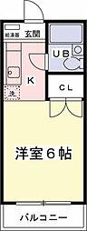 コーポ長谷川D[202号室]の間取り
