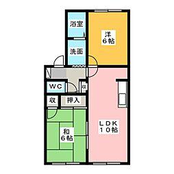 リヴェール宮竹B棟[2階]の間取り
