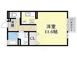 阪急京都本線 茨木市駅 バス15分 流通センター前下車 徒歩9分の賃貸アパート 1階ワンルームの間取り