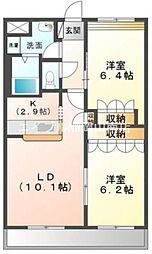 岡山県岡山市南区米倉丁目なしの賃貸マンションの間取り