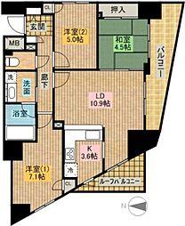 西新井アークタワー[5階]の間取り