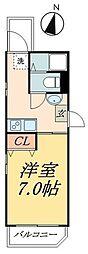 京成本線 お花茶屋駅 徒歩8分の賃貸マンション 3階ワンルームの間取り