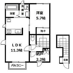 リ・アンジュ[1-201号室]の間取り
