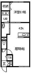MODE-T A棟 2階1LDKの間取り