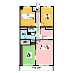 レナジア大岡[4階]の間取り