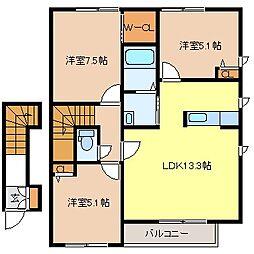 コレージュC棟[2階]の間取り
