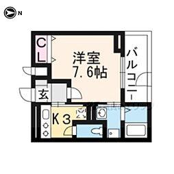京阪本線 藤森駅 徒歩10分の賃貸アパート 2階1Kの間取り