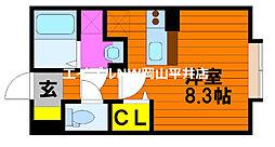 JR山陽本線 東岡山駅 徒歩10分の賃貸アパート 2階ワンルームの間取り