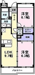 南海高野線 萩原天神駅 徒歩4分の賃貸マンション 2階2LDKの間取り