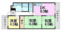 第9カシノハイツ[4階]の間取り