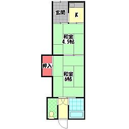 村田大庭町連棟平屋 1階2Kの間取り