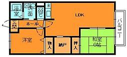 奈良県生駒郡平群町初香台1丁目の賃貸アパートの間取り
