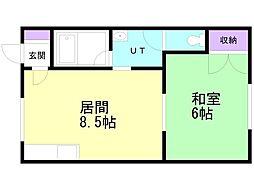 コープサイド亀田本町 II 1階1LDKの間取り