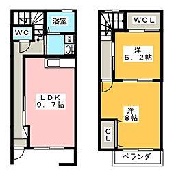 [テラスハウス] 静岡県浜松市浜北区西美薗 の賃貸【/】の間取り