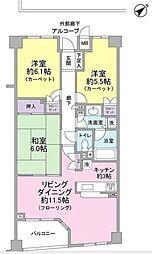 東急ドエル・プレステージ参宮橋 4階3LDKの間取り