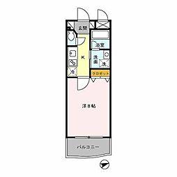 西鉄天神大牟田線 下大利駅 徒歩5分の賃貸マンション 3階1Kの間取り