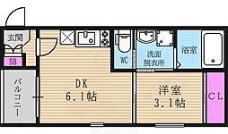 京都市営烏丸線 くいな橋駅 徒歩7分の賃貸アパート 3階1DKの間取り