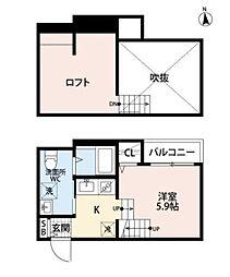 西鉄貝塚線 名島駅 徒歩5分の賃貸アパート 1階1SKの間取り