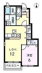 愛知県清須市春日中河原の賃貸アパートの間取り