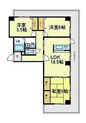 昭和グランドハイツ阿倍野[4階]の間取り
