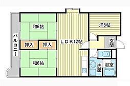 青山グランドコーポ 2号館[6階]の間取り
