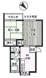 藤沢レジデンス 2階2DKの間取り