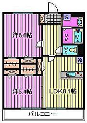 埼玉県さいたま市中央区八王子の賃貸マンションの間取り