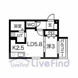 札幌市営東豊線 月寒中央駅 徒歩10分の賃貸マンション 4階1LDKの間取り