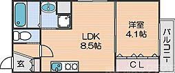 Osaka Metro四つ橋線 花園町駅 徒歩4分の賃貸アパート 3階1LDKの間取り