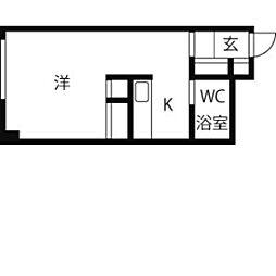 札幌市営南北線 北12条駅 徒歩5分の賃貸マンション 2階1Kの間取り