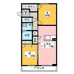 ROYAL YORK IV A棟[2階]の間取り