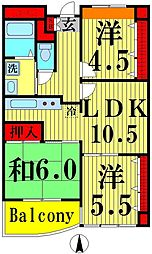 東京都足立区竹ノ塚2丁目の賃貸マンションの間取り
