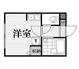 青雲ハウス 3階ワンルームの間取り