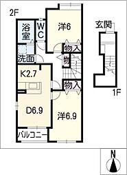 ローザジャルディーノII[2階]の間取り