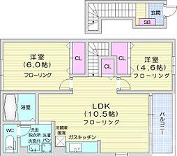 JR仙山線 愛子駅 徒歩25分の賃貸アパート 2階2LDKの間取り