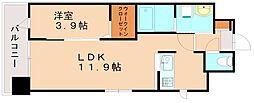 JR篠栗線 柚須駅 徒歩21分の賃貸マンション 2階1LDKの間取り